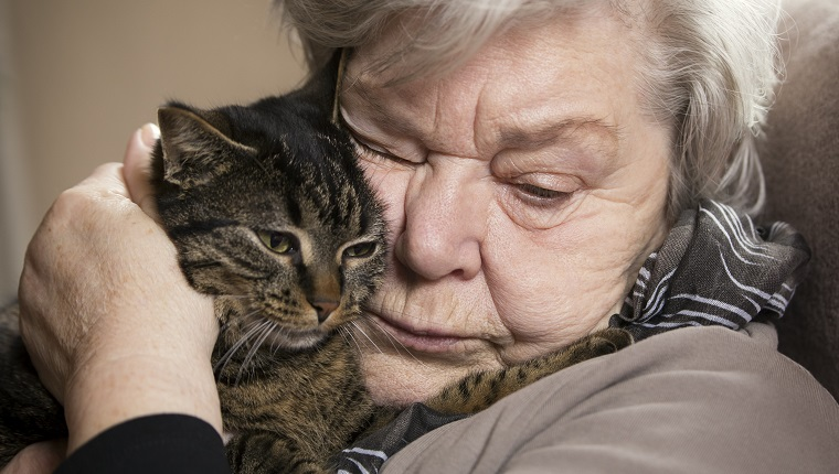 Portrait of senior woman cuddling with her cat
