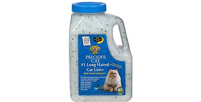 Image features a package of Dr. Elsey's Precious Cat Long-Haired Cat Litter with blue label.