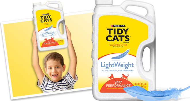 Small child holding plastic container of kitty litter to show how light it really is.
