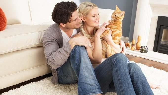 A young couple hold an orange cat while sitting on a rug.