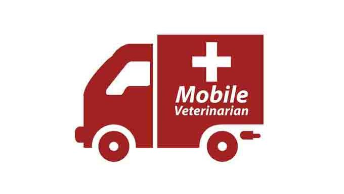 "Cartoon drawing of ambulance that reads ""mobile veterinarian"""