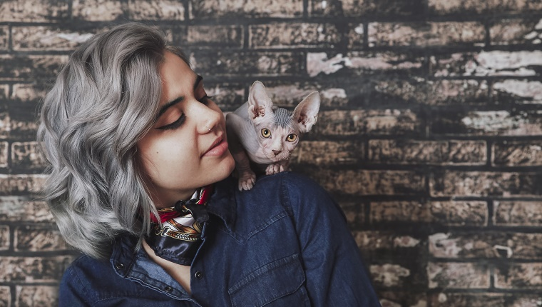 Young woman carrying Sphynx cat on shoulder