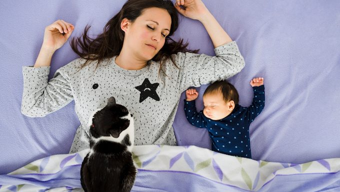 mom in bed with baby and cat