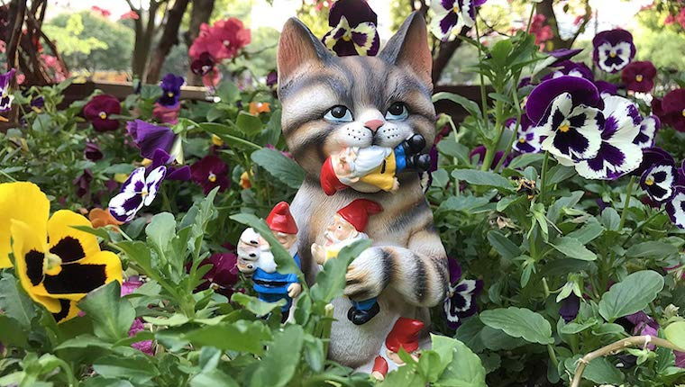 Cat gnome in garden
