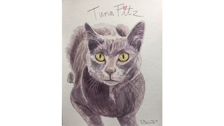 gene's watercolor of a cat named tuna fitz
