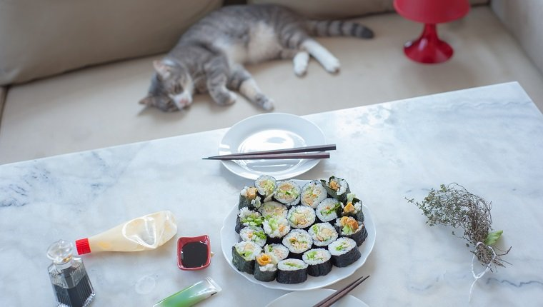 Japanese homemade maki sushi on the table with mayonnaise, wasabi and soy sauce, my cat lying on the sofa in the background.