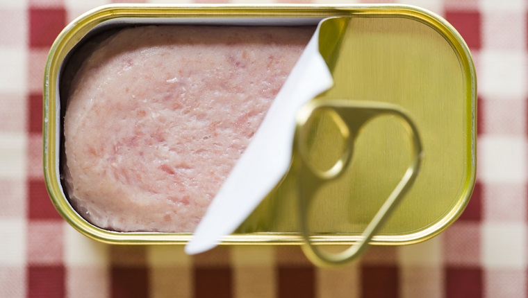 High angle view of a can of spam