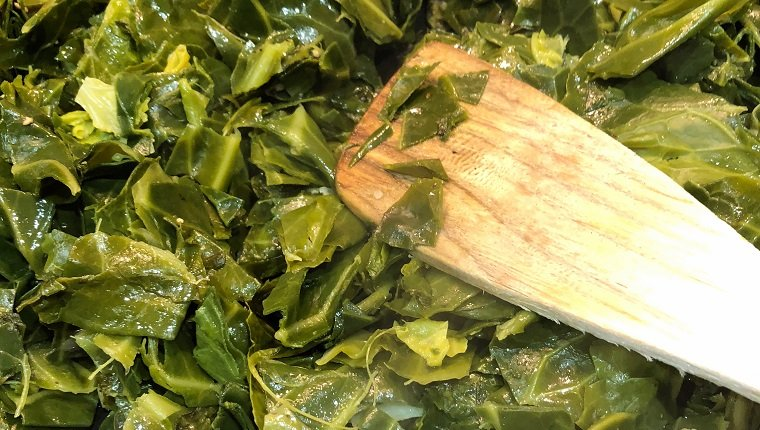 Cooking greens with garlic and chilli