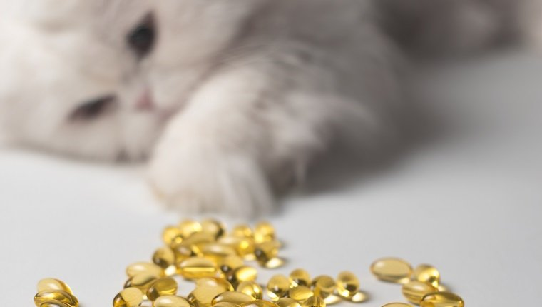 Several capsules of fish oil. Curious cat in the background. White and yellow colors
